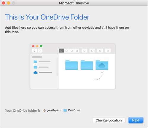 Posnetek zaslona, na kateri je prikazana stran »To je vaša mapa storitve OneDrive« v čarovniku »Dobrodošli v storitvi OneDrive« v računalniku Mac