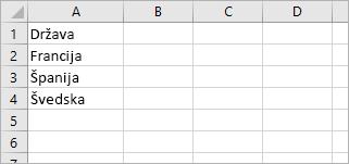Celica A1 vsebuje vrednost »Država«, v celicah od A2 do A4 pa so imena držav: Francija, Španija, Švedska.