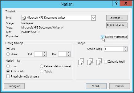 Tiskanje v datoteko