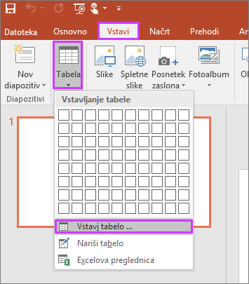Pokaže možnost »Tabela« na zavihku »Vstavi« na traku v PowerPointu