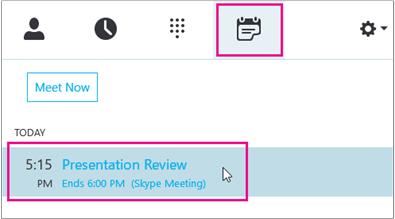 Pridruževanje srečanju na zavihku srečanja za Skype za podjetja
