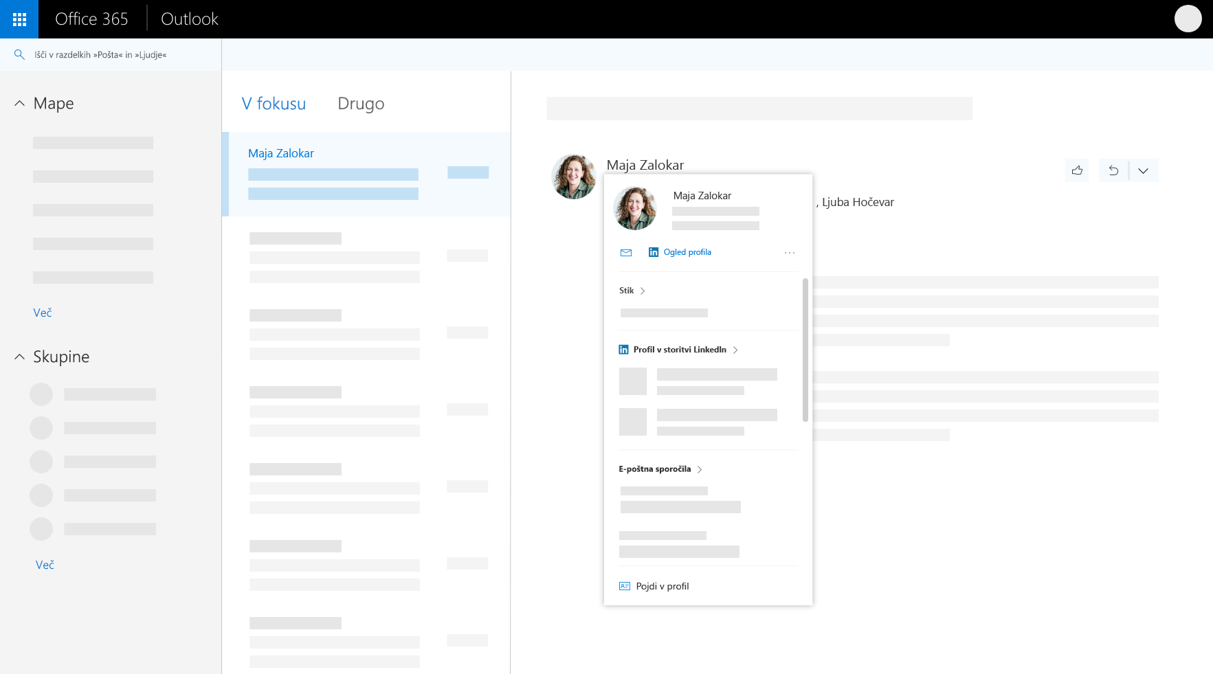 Kartico profila v Outlooku v spletu