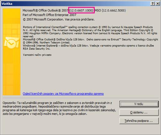 Posnetek zaslona številke različice programa Outlook 2007 v pogovornem oknu »Vizitka«.