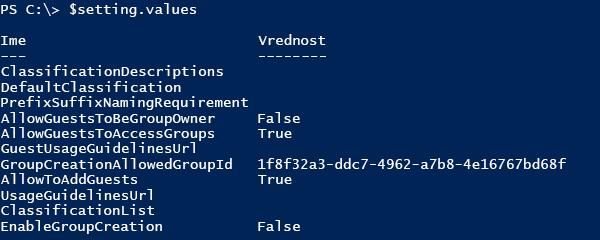 Posnetek zaslona seznama trenutnih vrednosti konfiguracije