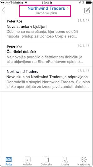 Pogled Outlookove mobilne pogovora z glavo, ki so označena