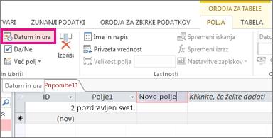 Dodajanje polja »Datum/čas« v pogledu podatkovnega lista