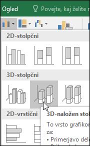 3D-oblike naložen stolpčni grafikon