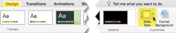 Gumb» velikost diapozitiva «je na skrajni desni strani zavihka» načrt «v orodni vrstici