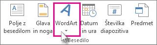 Kliknite, če želite dodati WordArt