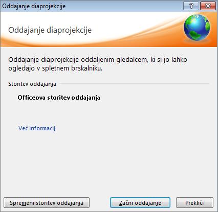 Prikazuje pogovorno okno »Oddajanje diaprojekcije« v aplikaciji PowerPoint 2010