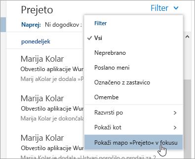 Posnetek zaslona menija »Filter« z izbrano možnostjo »Pokaži mapo »Prejeto« v fokusu«