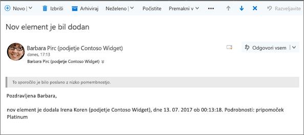E-pošto, poslano z Microsoft Flow spremembi elementa