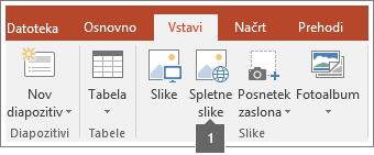 Posnetek zaslona, kako dodati spletne slike v Officeove aplikacije.