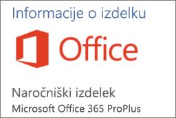 Posnetek zaslona dela odseka z informacijami o izdelku v Officeovi aplikaciji. Prikaže aplikacijo v razdelku »Naročniški izdelek« za Office 365 ProPlus.
