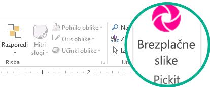 Ko namestite dodatek »Pickit Free Image«, je prikazan skrajno desno na zavihku »Osnovno« na traku.