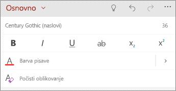 Možnosti za oblikovanje besedila v PowerPoint Mobile za telefone Windows.