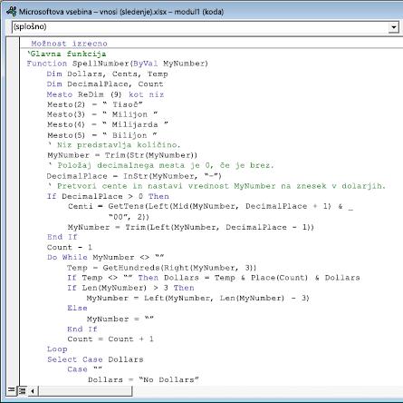 Koda, prilepljen v v modulu »modul1« (koda) polje.