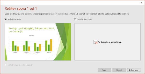 Pokaže pogovorno okno spornih sprememb v PowerPointu
