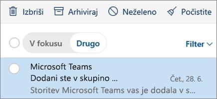 Arhiviranje sporočil v Outlooku v spletu