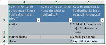 Če želite natisniti vprašanja in odgovore ankete, izberite celice, ki vsebujejo odgovore.