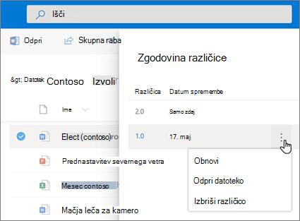 Posnetek zaslona obnovitev datotek v storitvi OneDrive za podjetja iz Zgodovina različic v podoknu s podrobnostmi v moderno izkušnjo