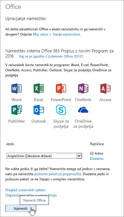Stran z mojo programsko opremo sistema Office 365 za prenos sistema Office 2016
