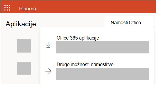 Posnetek zaslona Office.com, če se vpišete s službenim ali šolskim računom