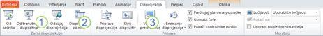 Zavihek »Diaprojekcija« na traku PowerPointa 2010