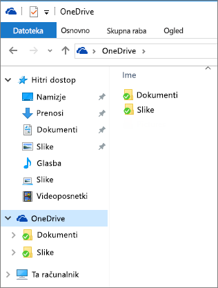 OneDrive v Raziskovalcu