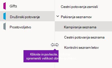 Spreminjanje velikosti podoken za krmarjenje v OneNotu za Windows 10