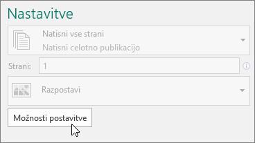 »Možnosti postavitve« v nastavitvah tiskalnika v Publisherju.
