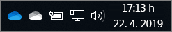 Odjemalec za sinhronizacijo storitve OneDrive z modro in belo ikono oblaka