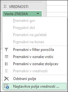 Pogovorno okno z nastavitvami Excelovega polja z vrednostmi