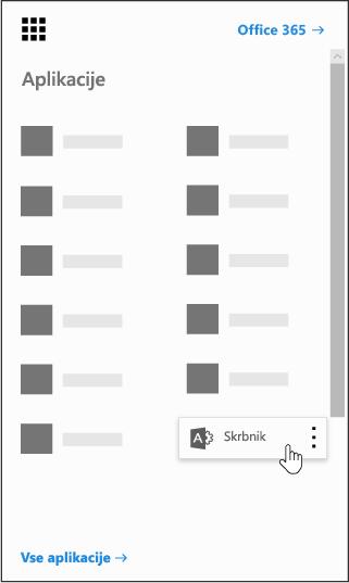 Zaganjalnik aplikacij storitve Office 365 z označeno ploščico »Skrbnik«