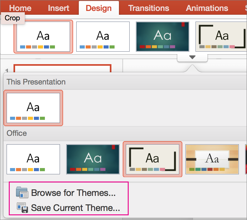 PPT for Mac Save your theme