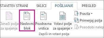 Polje za spajanje dokumentov »Vstavi naslovni blok«