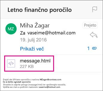 Pregledovalnik za šifrirana sporočila v storitvi Office 365 za Outlook za iOS 1