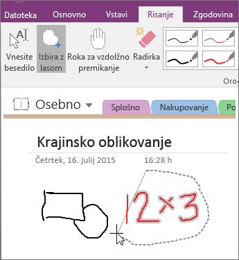 Posnetek zaslona uporabe gumba »Izbira z lasom« v programu OneNote 2016.