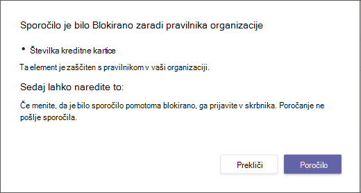 Dialog explaining why a message was blocked and can't overridden