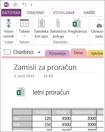 Vstavljanje slike preglednice na stran
