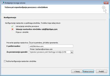 Pogovorno okno za dodajanje novega računa, v katerem je označeno, da računa ni mogoče konfigurirati
