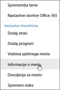 Povezavo z informacijami o SharePointovih mest