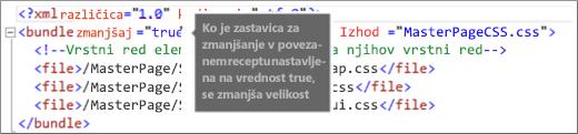 Posnetek zaslona, na katerem je prikazana sprememba vrednosti zastavice minify na »true«