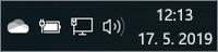 Bela ikona storitve OneDrive v sistemski vrstici