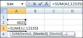 Uporaba funkcije SUM za dodajanje celice in vrednosti