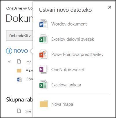 Možnosti programov Office Online, ki so na voljo prek gumba »Novo« v storitvi OneDrive za podjetja