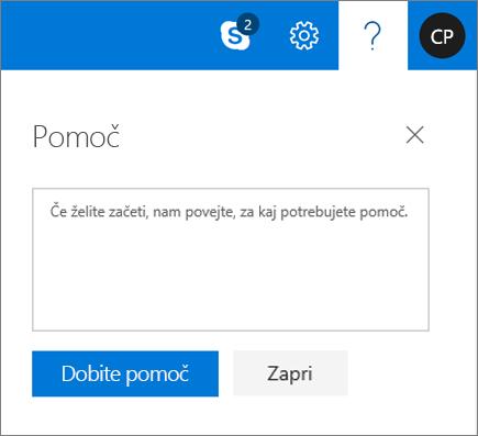 Posnetek zaslona prikaže pogovorno okno pomoči, kjer lahko vnesite podatke o težave in nato izberite gumb pomoč pridobi.