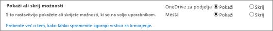Razdelek »Prikaži/skrij možnosti« za nastavitve v programu SPO SharePoint