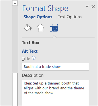 Posnetek zaslona z območjem »Nadomestno besedilo« v podoknu »Oblikovanje slike«z opisom izbrane oblike