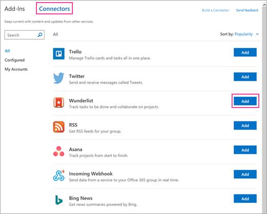 Posnetek zaslona razpoložljivih povezanih storitev v aplikaciji Outlook 2016